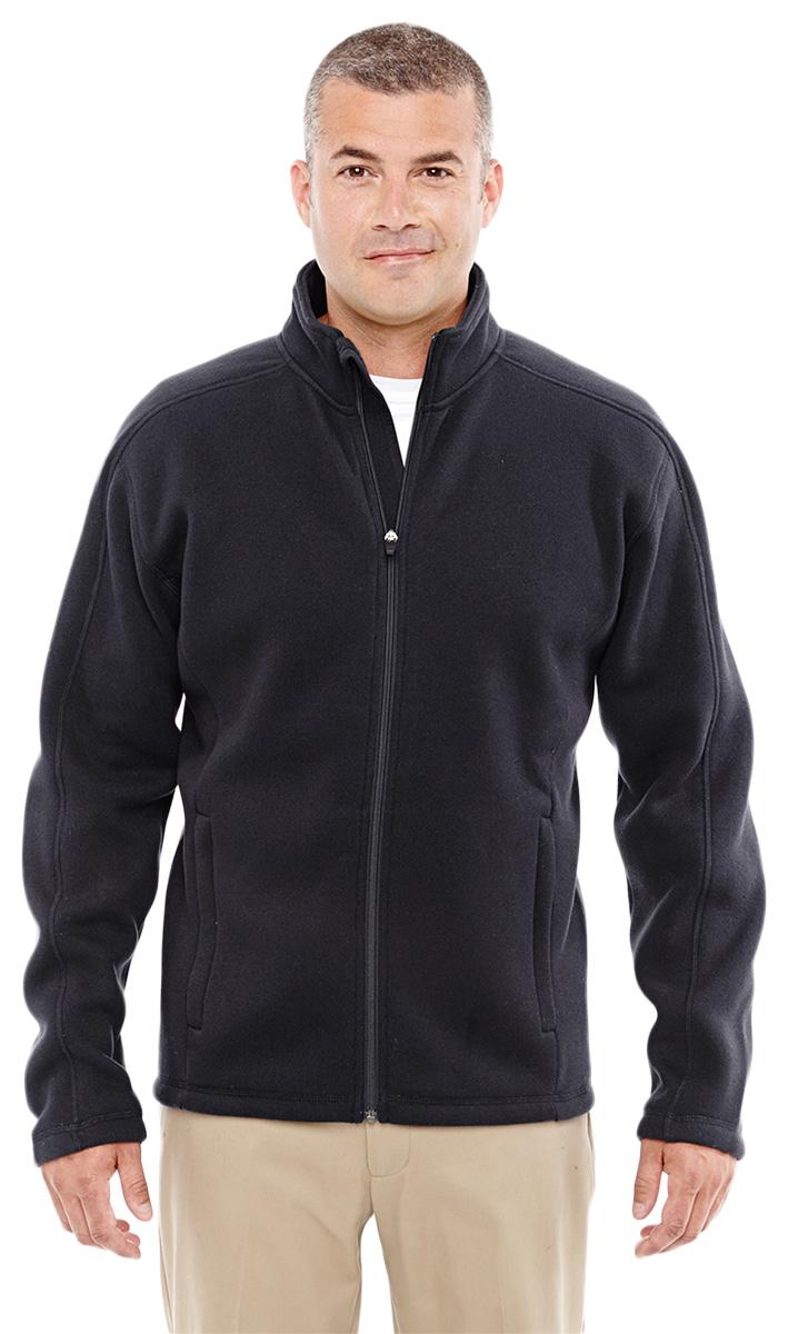 Devon & Jones DG793 Men's Front Coil Zipper Full Zip Sweater Fleece Jacket Black-XXL