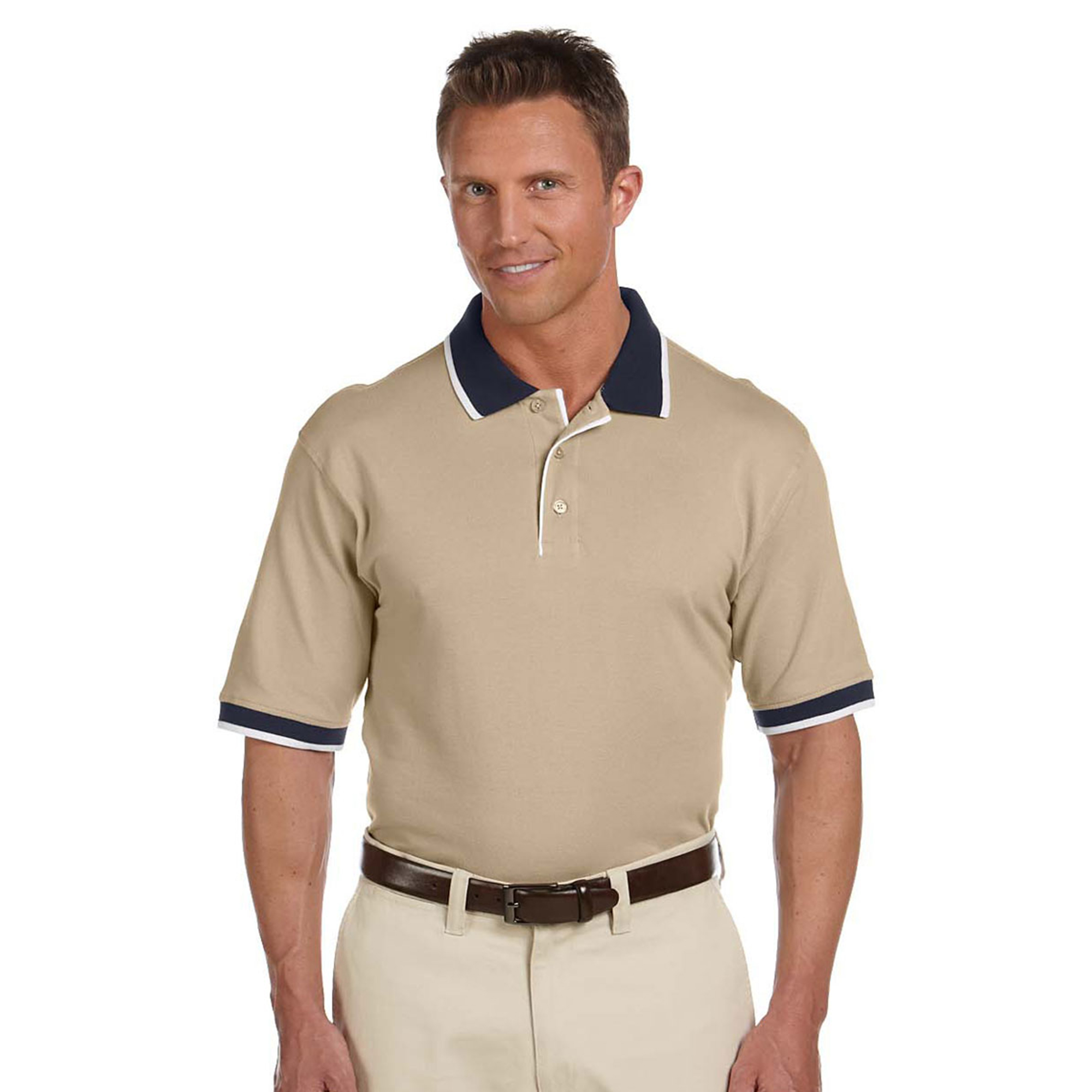 Harriton M250 Men's Collar Three Buttons Comfort Polo at Sears.com