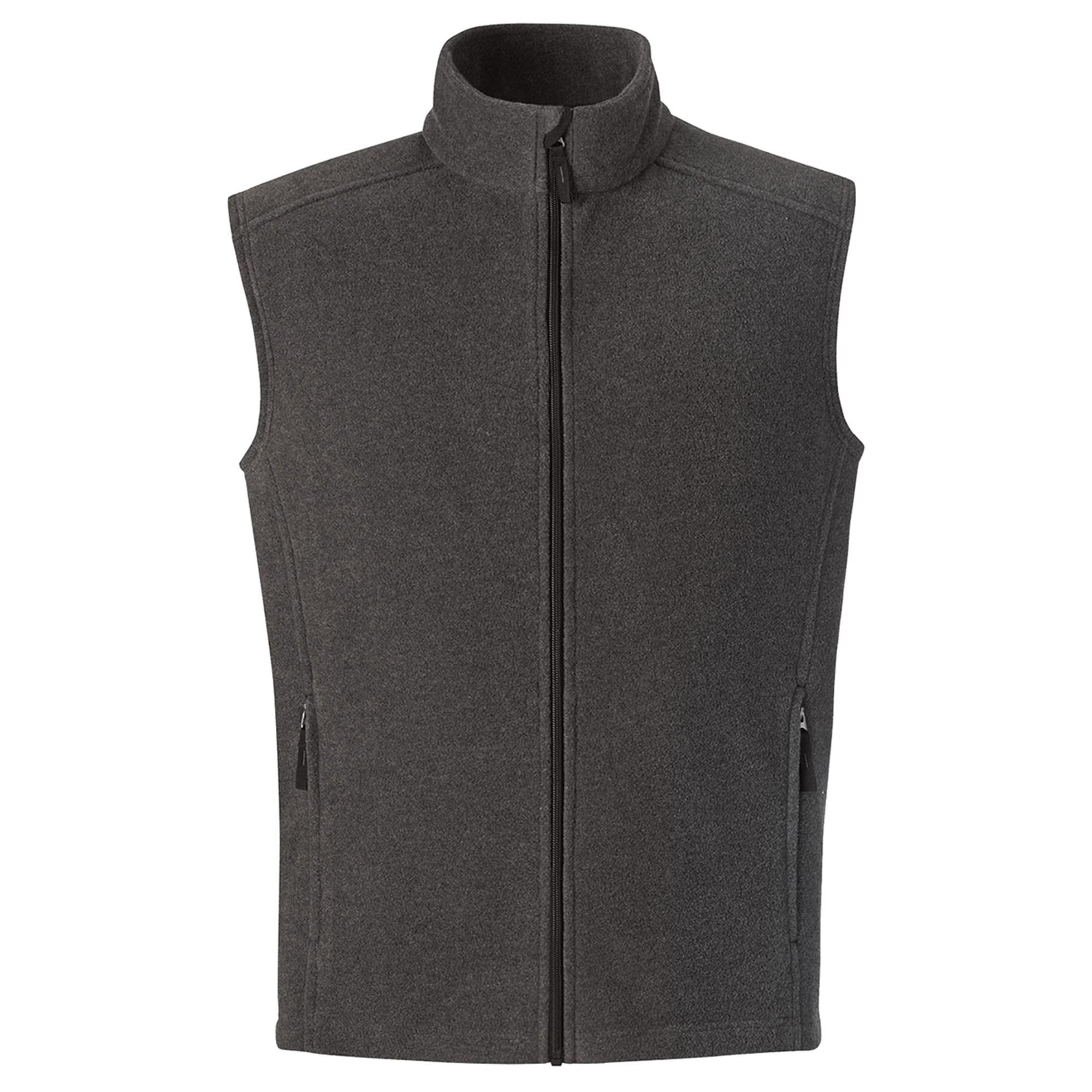 North End 88191 Men's Lower Pocket Anti-Pill Fleece Vest Heather Charcoal-XL