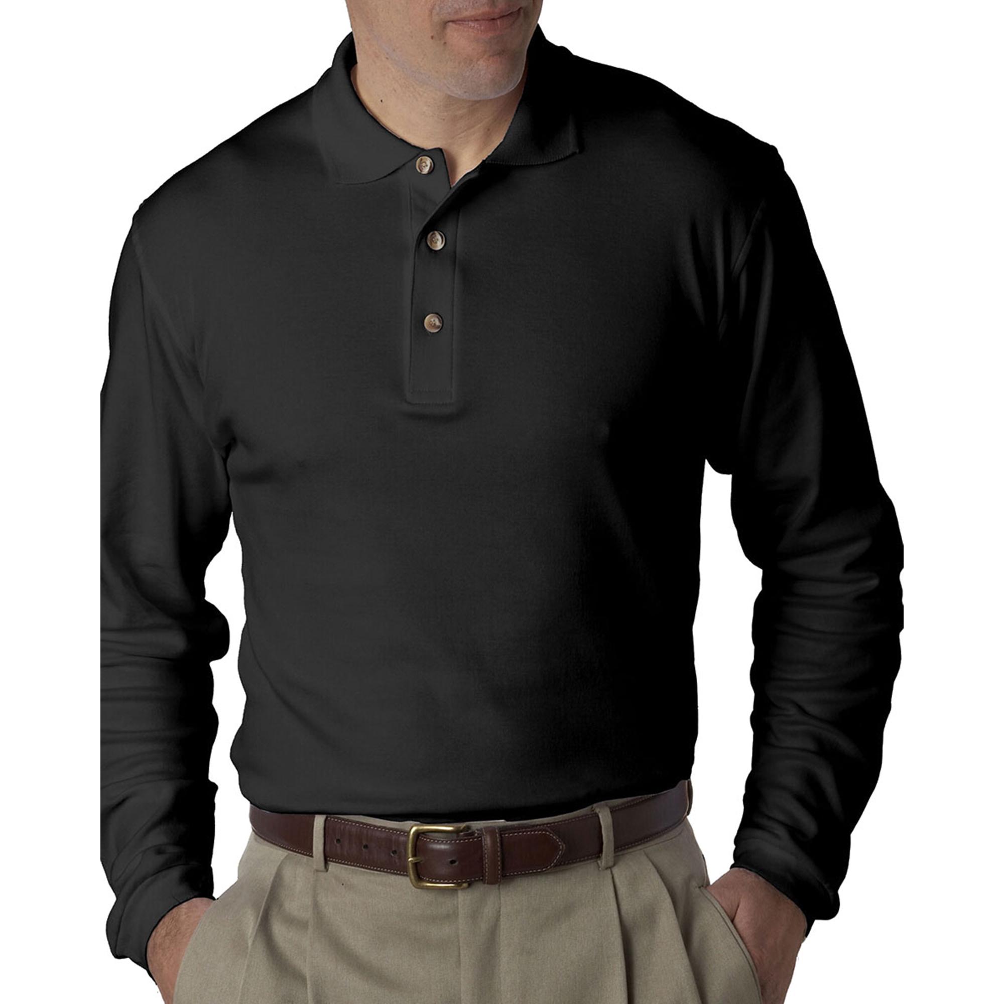 ULTRACLUB 8501 Men's Egyptian Interlock Long Sleeve Polo Shirt at Sears.com