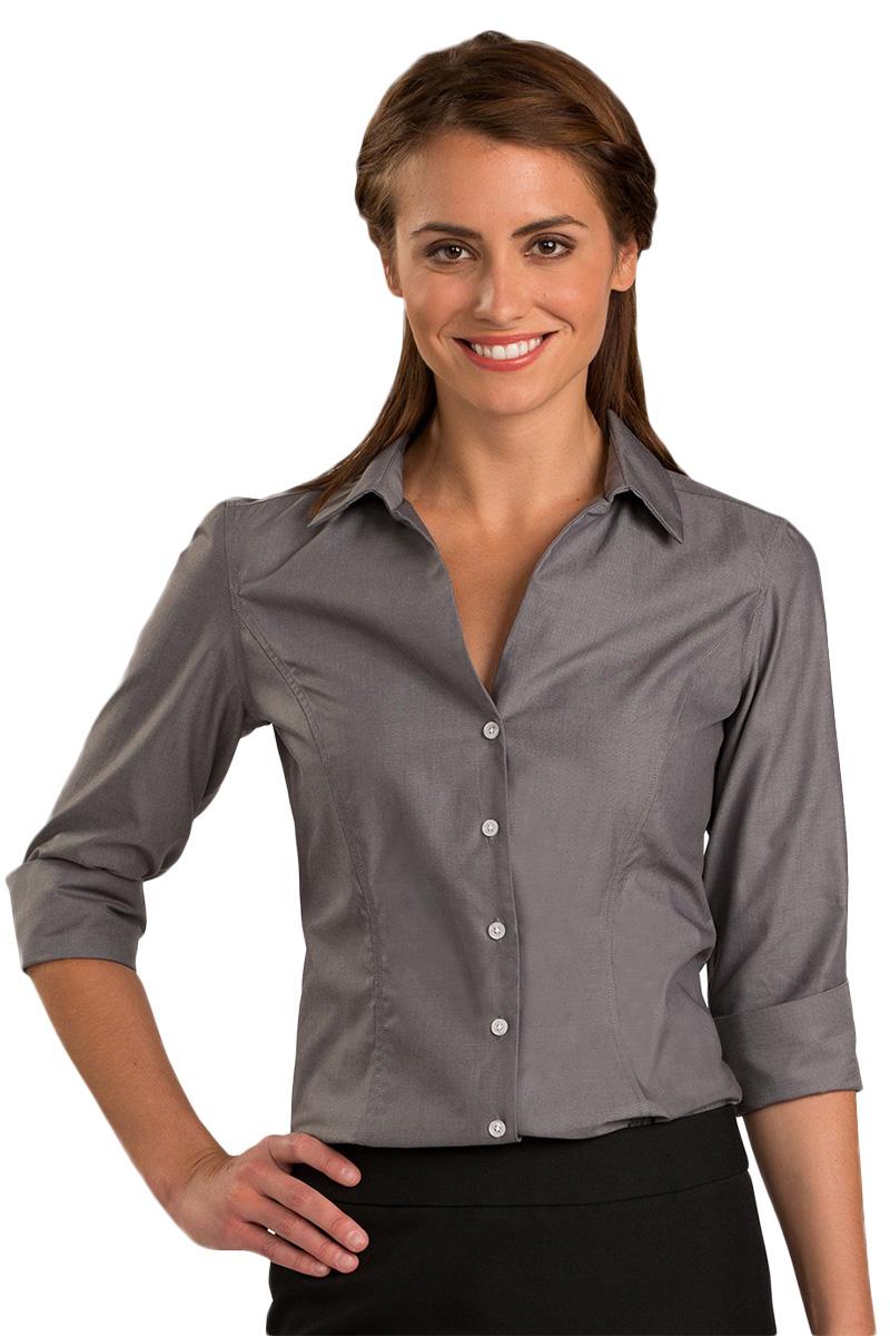 Edwards 5976 Women's No-Iron Pinpoint Dress Shirt 3/4 Sleeve
