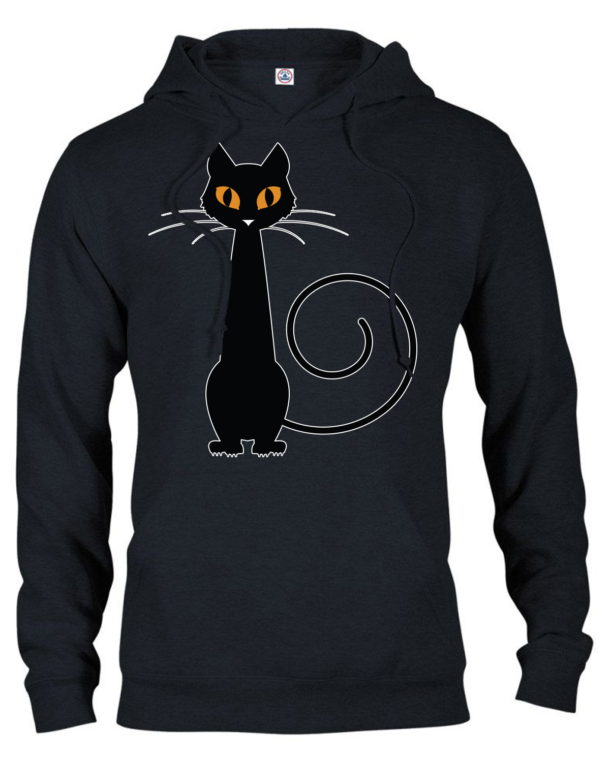 Adult Unisex Heavyweight Halloween Black Cat Print S-3X Black Hoodie.  99200-H076