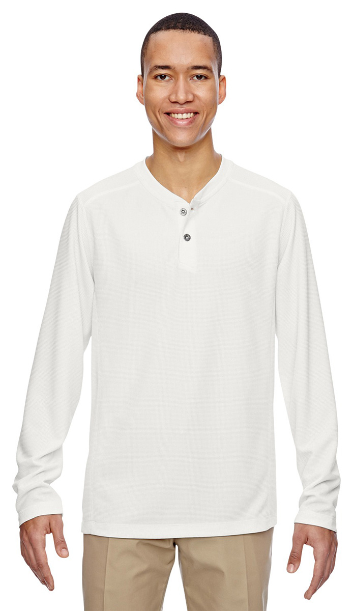 North end men 39 s moisture wicking long sleeve henley for Polyester t shirts for men