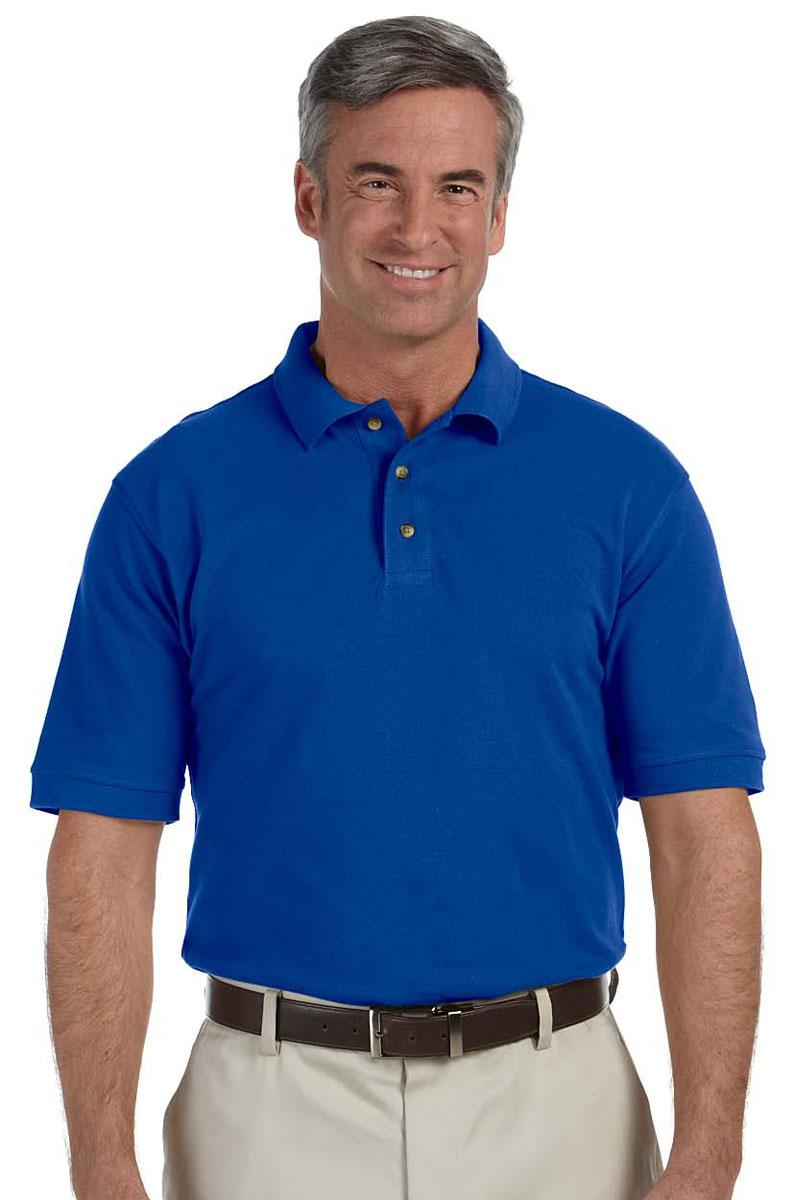 harriton men's three button 100 cotton short sleeve pique