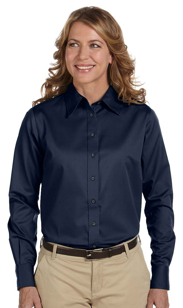 9c9381e0e71a2 Details about Harriton Women s Easy Blend Stain Release Long Sleeve Twill  Shirt. M500W