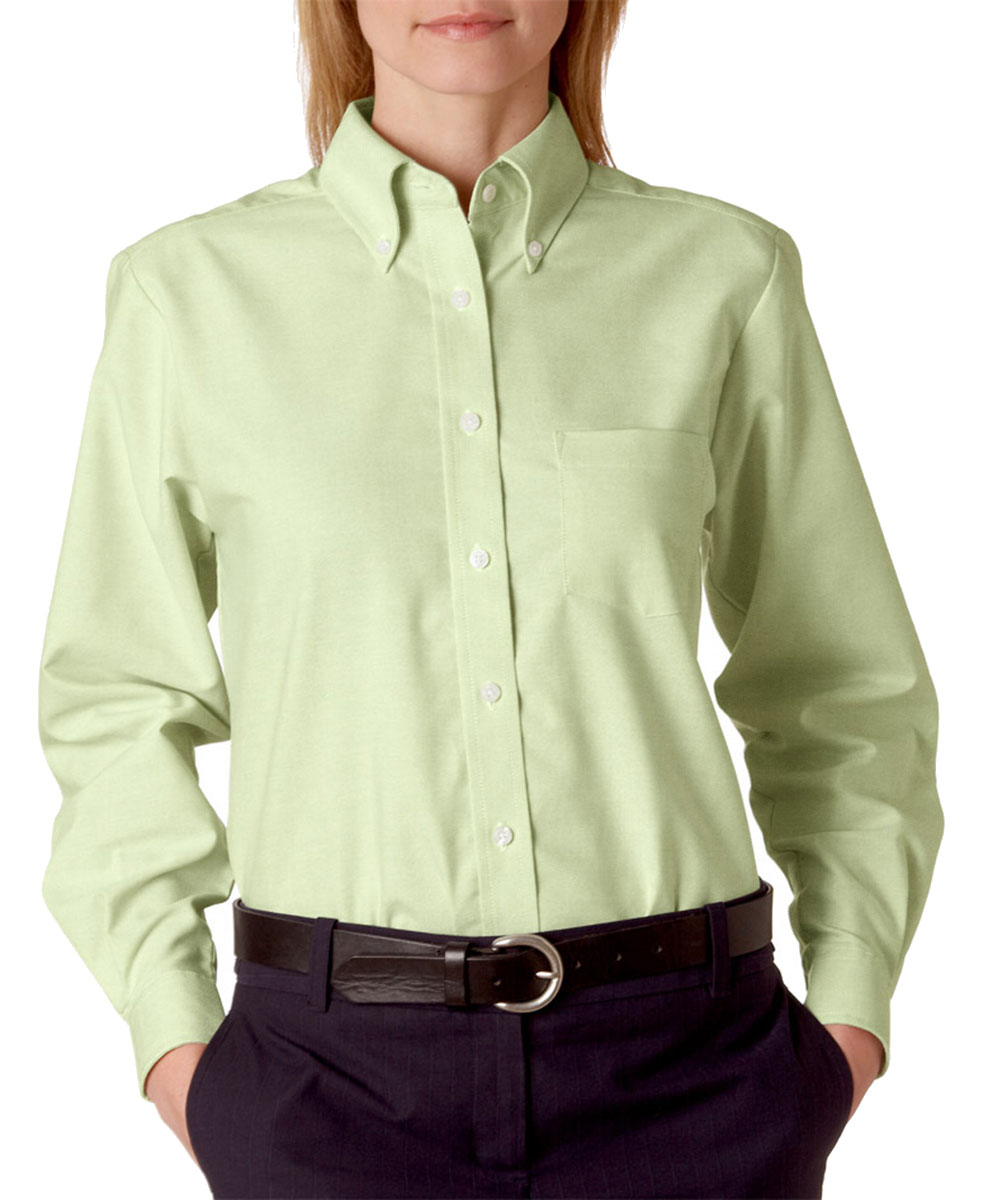 Ultraclub women 39 s classic wrinkle free long sleeve solid for Wrinkle free dress shirts amazon