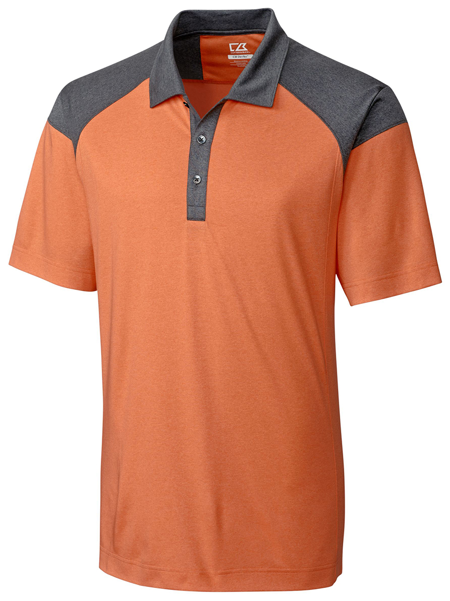 Cutter buck men 39 s new short sleeve polyester colorblock for Men s polyester polo shirts