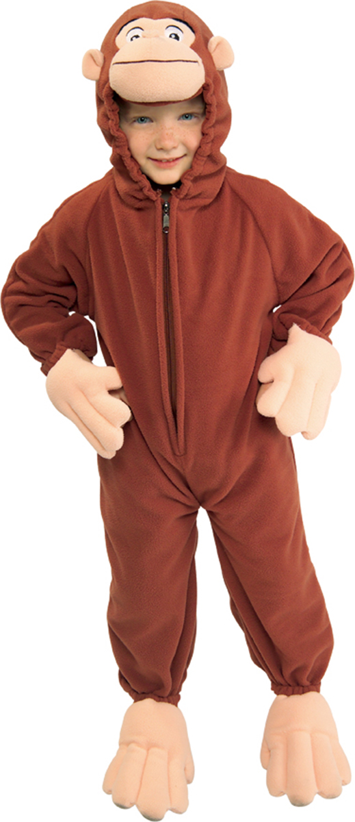 RU885500T Morris Costumes Curious George Fleece Toddler Complete Outfit 2T-4T