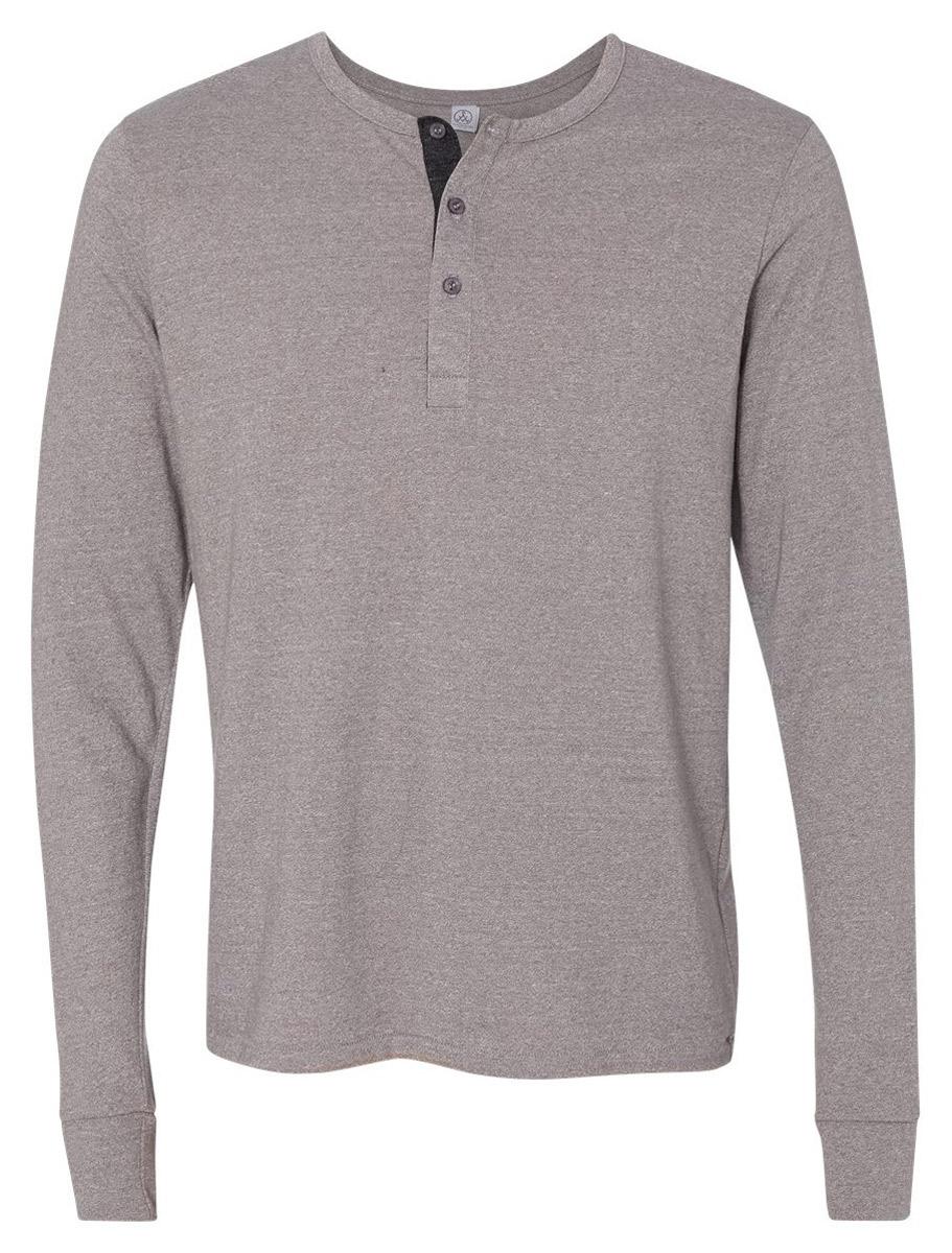 Alternative men 39 s casual 50 50 mock twist long sleeve for Mock long sleeve t shirts