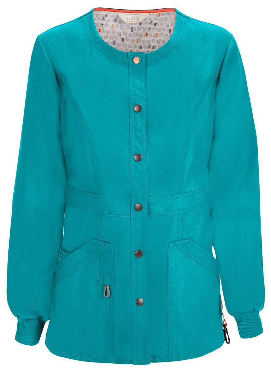 Code-Happy-Women-039-s-Long-Sleeve-Snap-Front-Closure-Warm-Up-Scrub-Jacket-46300A