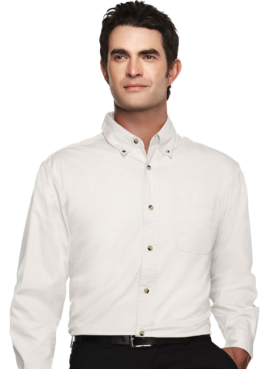 Tri mountain men 39 s big and tall two button cuff twill for Big and tall button up shirts