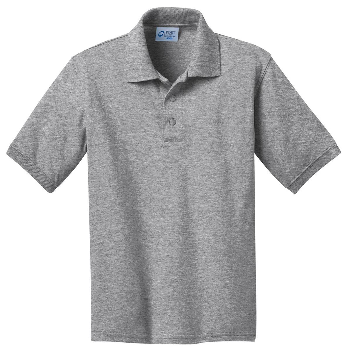 Port Company Boys Youth Jersey 3 Button Knit Polo Shirt